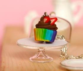 Kawaii rainbow necklace chocolate cupcake miniature Polymer clay