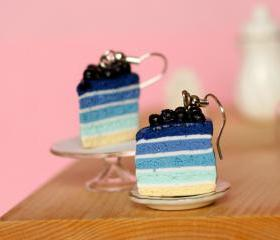 Blueberry cake earrings miniature food Polymer clay sweet dessert