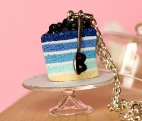 Blueberry cake necklace miniature food Polymer clay sweet dessert