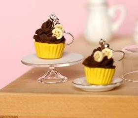 Banana chocolate cupcake earrings miniature