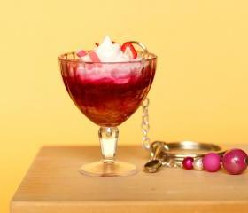 Strawberry sundae keychain