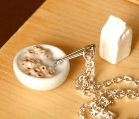 Polymer clay miniature food cereal bowl cheerios and milk