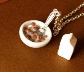 Polymer clay miniature food cereal bowl and milk
