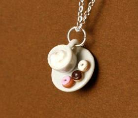 Dunkin Donuts with coffee kawaii necklace polymer clay