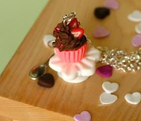 Kawaii necklace chocolate cupcake miniature Polymer clay