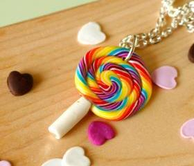 Lollipop necklace polymer clay sweets