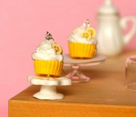Yellow cupcake earrings miniature kawaii Polymer clay sweet dessert