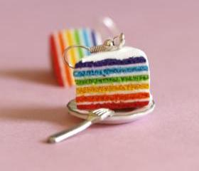 Rainbow cake earrings miniature food Polymer clay hoop sweet dessert