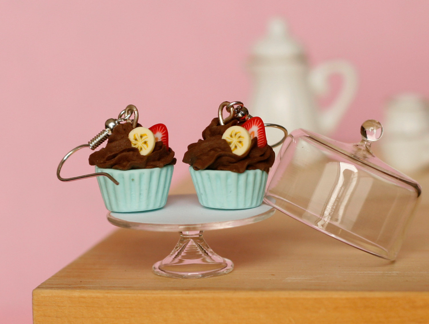 Cute earrings chocolate cupcake miniature kawaii Polymer clay